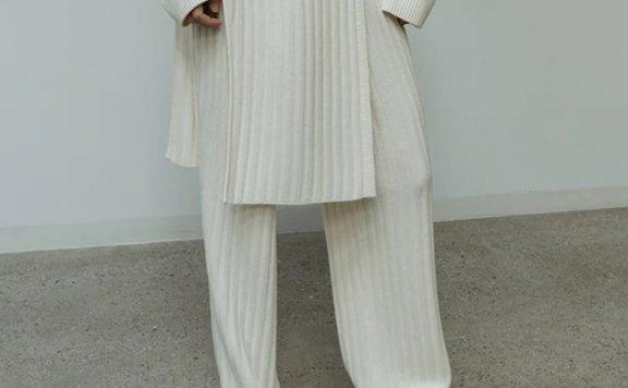 正品LE 17 SEPTEMBRE 21秋冬 韩国设计师品牌 纯色羊毛罗纹针织裤