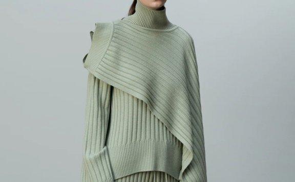 正品代购LE 17 SEPTEMBRE 21秋冬 小众设计纯色羊毛罗纹针织围巾
