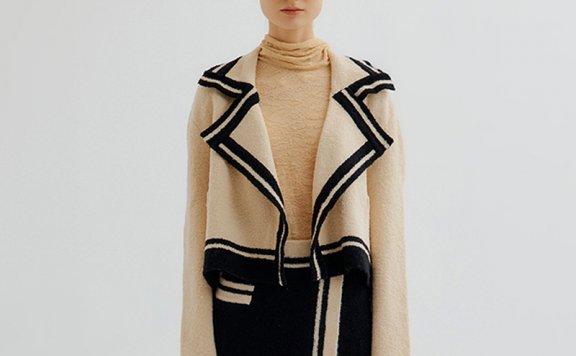 EENK 韩国设计师品牌 21秋冬 大翻领拼色短款针织开衫外套