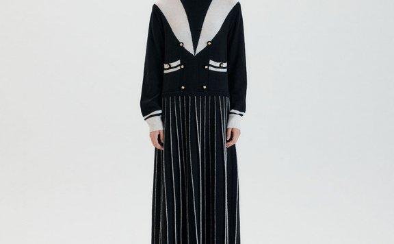 正品代购EENK 韩国设计师品牌 21秋冬 大领长款羊毛针织连衣裙