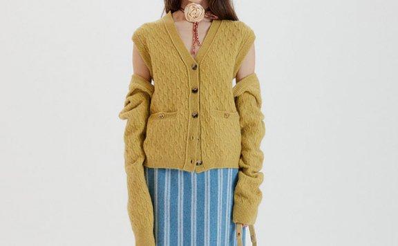 正品代购EENK 韩国设计师品牌 21秋冬 V领宽松背心开衫两穿套装