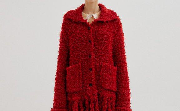 EENK 韩国设计师品牌 21秋冬 翻领口袋中长款流速针织开衫外套