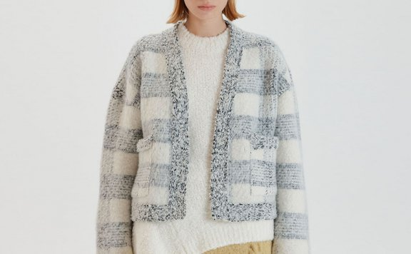 正品代购EENK 韩国设计师品牌 21秋冬 提花徽标条纹短款针织开衫