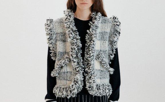 EENK 韩国设计师品牌 21秋冬 宽松格子针织毛边背心马甲正品直邮