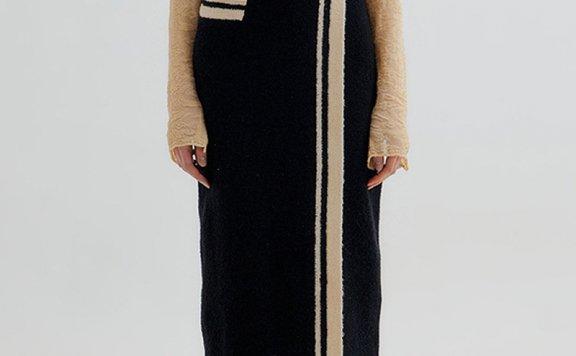 正品EENK 韩国设计师品牌 21秋冬 拼色剪裁开叉高腰针织半身裙