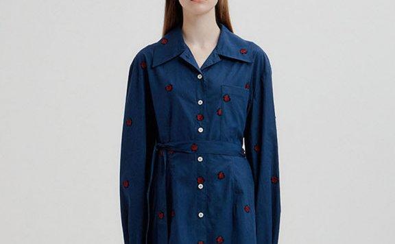 正品EENK 韩国设计师品牌 21秋冬 全棉花点图案腰带款衬衫上衣