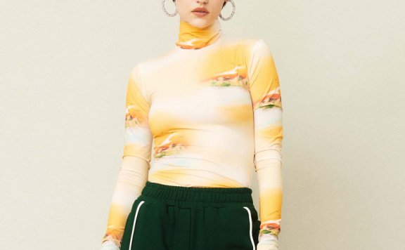 正品代购KIJUN 21秋冬 韩国设计师品牌 高领日落印花拇指孔打底衫