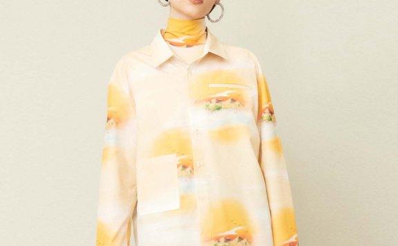 正品代购KIJUN 21秋冬 韩国设计师品牌 日落印花长袖衬衫上衣直邮