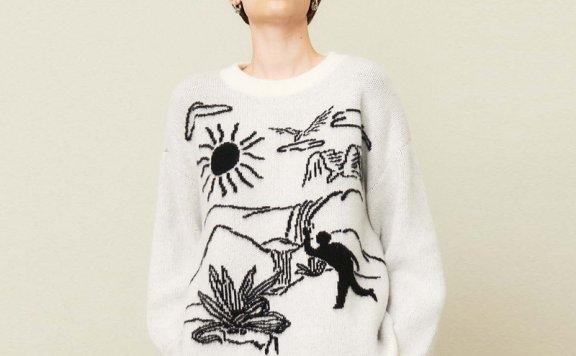 正品代购KIJUN 21秋冬 韩国设计师品牌 风景图案提花羊毛针织衫