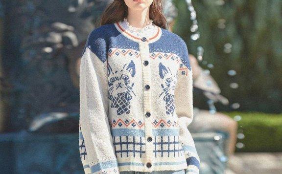 Vital Sign  21秋冬 韩国设计师品牌 圆领复古猫标针织开衫外套