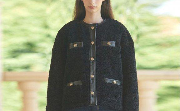 Vital Sign 21秋冬 韩国设计师品牌小香风羊剪绒皮毛一体短款外套