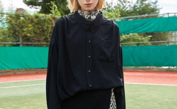 ouimaisnon 21秋冬 韩国设计师品牌 半高领宽松百搭纯色衬衫直邮