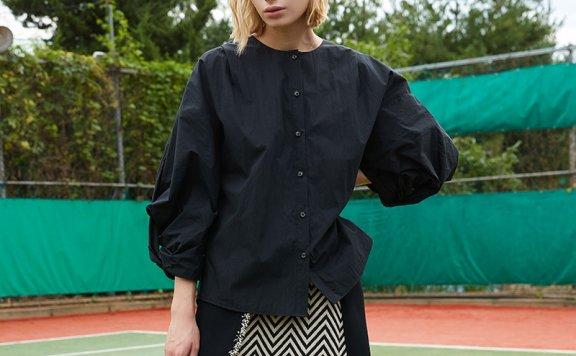 ouimaisnon 21秋冬 韩国设计师品牌 圆领气球袖宽松长袖衬衫上衣