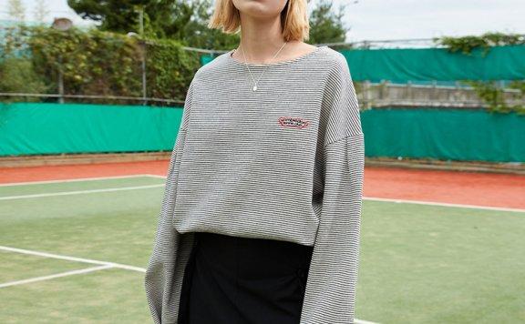正品代购ouimaisnon 21秋冬 韩国设计师品牌船领宽松百搭条纹T恤