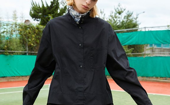 ouimaisnon 21秋冬 韩国设计师品牌 分层设计半高领宽松百搭衬衫