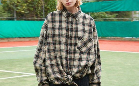ouimaisnon 21秋冬 韩国设计师品牌 经典款法兰绒条纹长袖衬衫