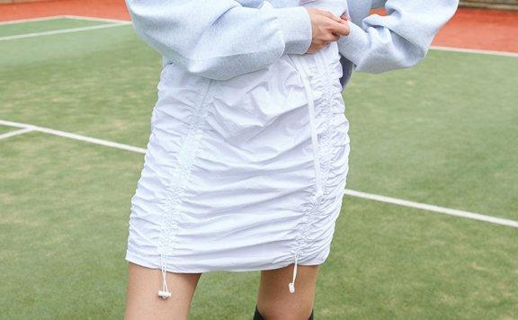 正品ouimaisnon 21秋冬 小众设计感松紧腰系带款H型抽褶半身裙