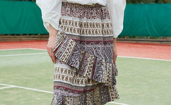 ouimaisnon 21秋冬 韩国设计师品牌 松紧腰不对称褶皱花纹半身裙