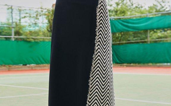 ouimaisnon 21秋冬 韩国设计师品牌 苏格兰提花流苏裹裙长半身裙