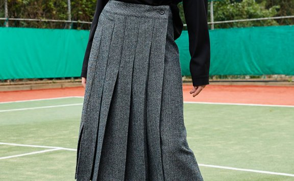 正品ouimaisnon 21秋冬 韩国设计师品牌 人字纹百褶羊毛半身裙