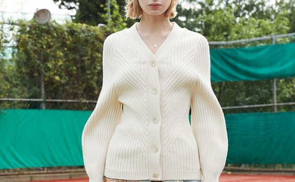 ouimaisnon 21秋冬 韩国设计师品牌 V领气球袖罗纹针织开衫外套