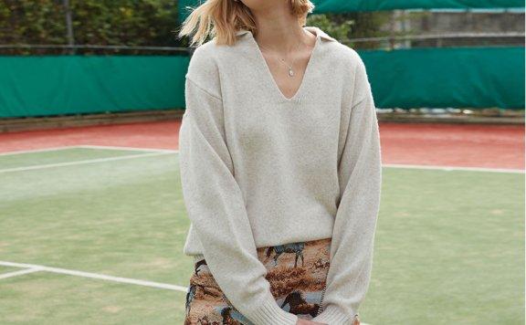 正品代购ouimaisnon 21秋冬 韩国设计师品牌 V领套头羊毛针织衫