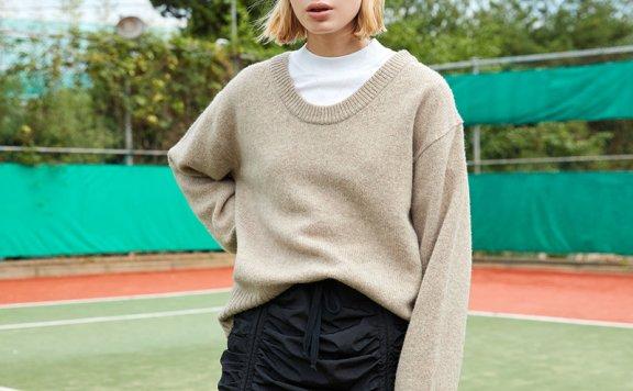 正品ouimaisnon 21秋冬 韩国设计师品牌 深圆领套头羊毛针织衫