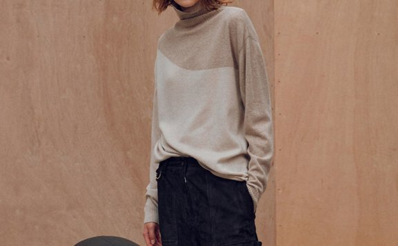 正品FRONTROW 21秋冬 韩国设计师品牌 宽松高领拼色羊毛针织毛衣