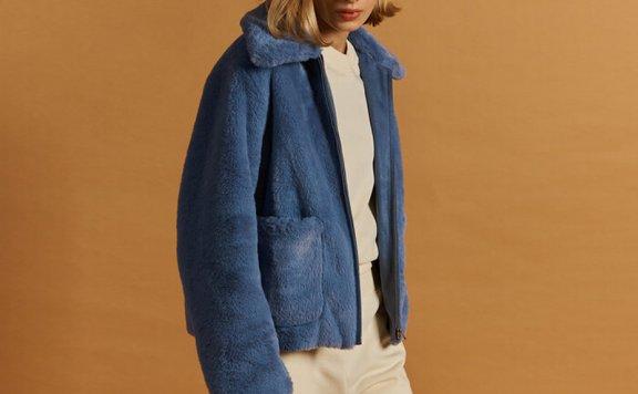 正品FRONTROW 21秋冬 韩国设计师品牌 翻领绒毛拉链款短款外套