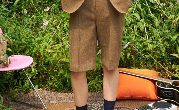 正品代购GROVE 21秋冬 韩国设计师品牌 经典宽松百搭羊毛西装短裤