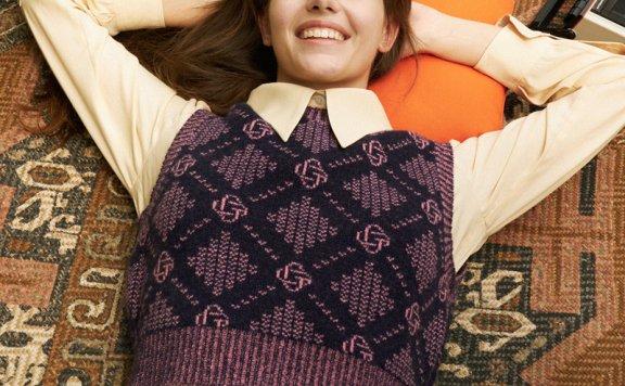 正品代购GROVE 21秋冬 韩国设计师品牌 圆领羊毛混纺百搭针织背心
