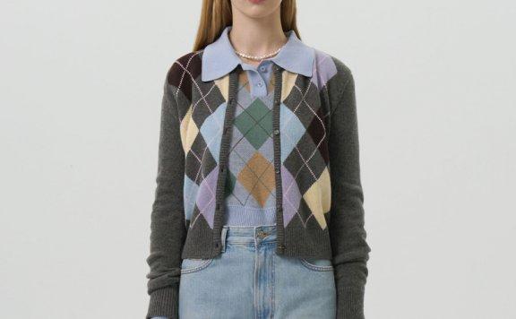 GROVE 21秋冬 韩国设计师品牌 圆领菱形针织开衫羊毛混纺短款上衣