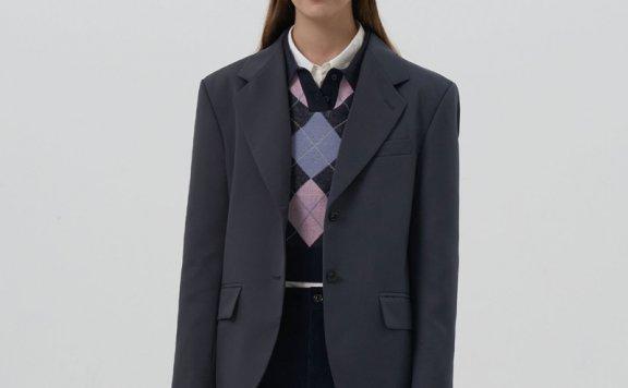 正品GROVE 21秋冬 韩国设计师品牌 羊毛混纺单排扣宽松西装外套