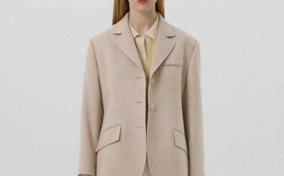 正品代购GROVE 21秋冬 韩国设计师品牌 三扣宽松羊毛夹克短款外套
