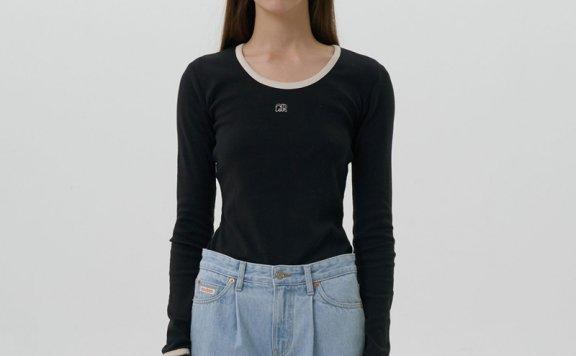 正品GROVE 21秋冬 韩国设计师品牌 纯棉圆领logo徽标简约百搭T恤