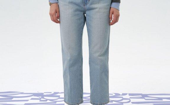 GROVE 21秋冬 韩国设计师品牌 全棉宽松百搭高腰直筒牛仔裤九分裤
