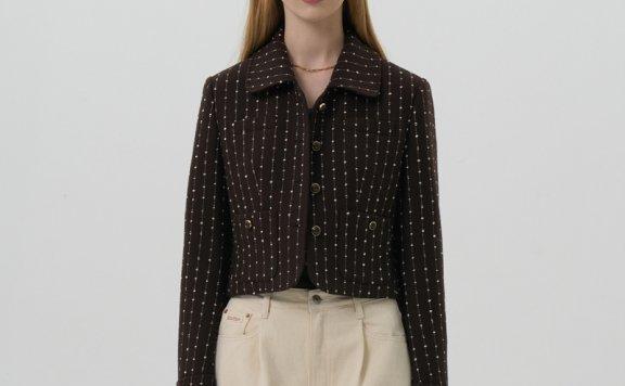 GROVE 21秋冬 韩国设计师品牌 多口袋翻领彩点花呢短款夹克外套