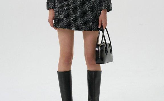 GROVE 21秋冬 韩国设计师品牌 A字形包臀花呢短款半身裙正品直邮