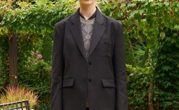 GROVE 21秋冬 韩国设计师品牌 logo徽标两粒扣羊毛西装夹克外套