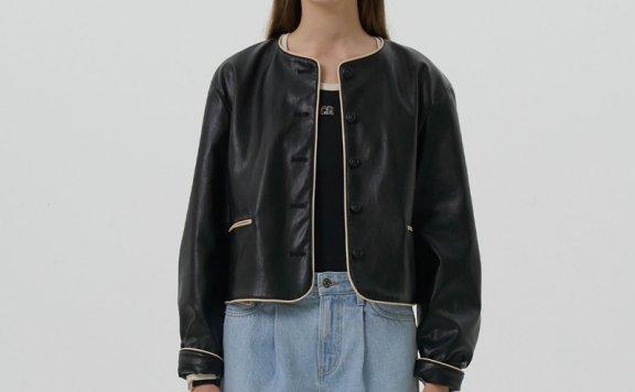 正品代购GROVE 21秋冬 韩国设计师品牌 圆形纽扣短款皮衣夹克外套