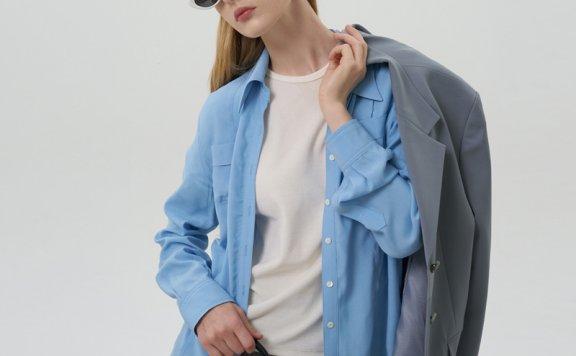 GROVE 21秋冬 韩国设计师品牌 小尖领口袋款压褶长袖衬衫上衣直邮