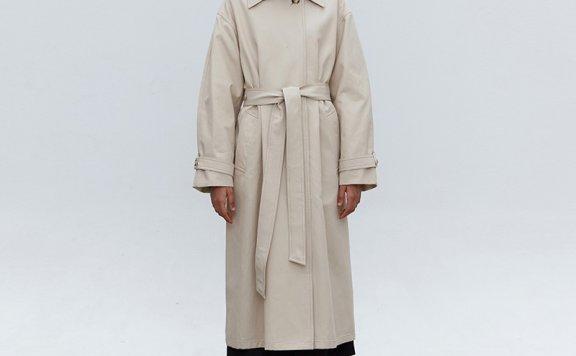 正品代购MOHAN 韩国设计师品牌 21秋冬 经典单排扣系带风衣外套