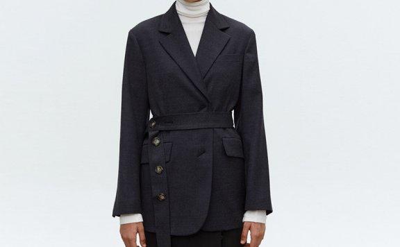 正品MOHAN 韩国设计师品牌 21秋冬 两粒扣个性腰带羊毛西装外套
