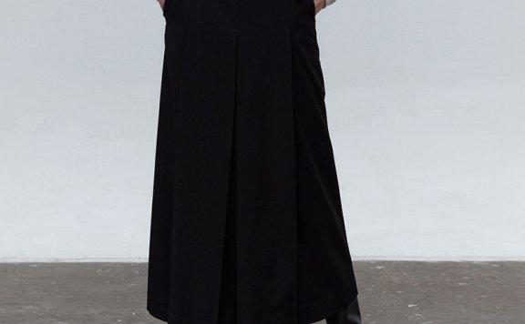 正品代购MOHAN 韩国设计师品牌 21秋冬 高腰压褶显瘦半身裙长裙