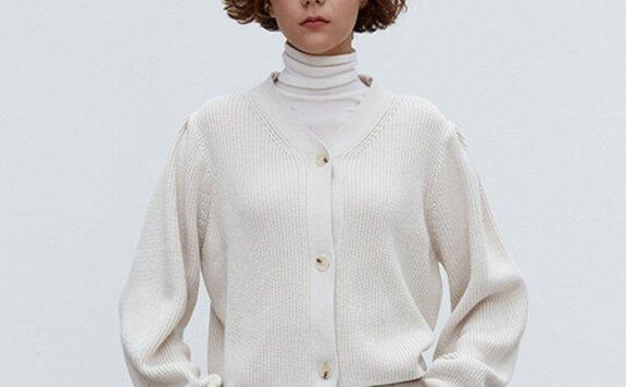 正品代购MOHAN 韩国设计师品牌 21秋冬V领宽松袖罗纹针织开衫上衣