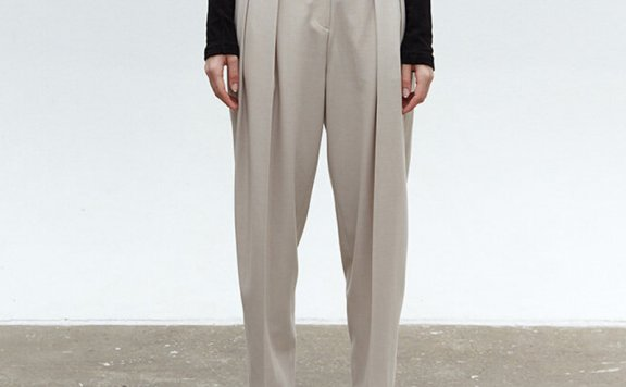 MOHAN 韩国设计师品牌 21秋冬 高腰压褶锥形小脚裤长裤正品直邮