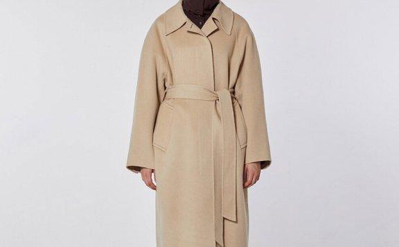 正品MOHAN 21秋冬 韩国设计师品牌 尖领腰带款后开叉羊毛大衣外套