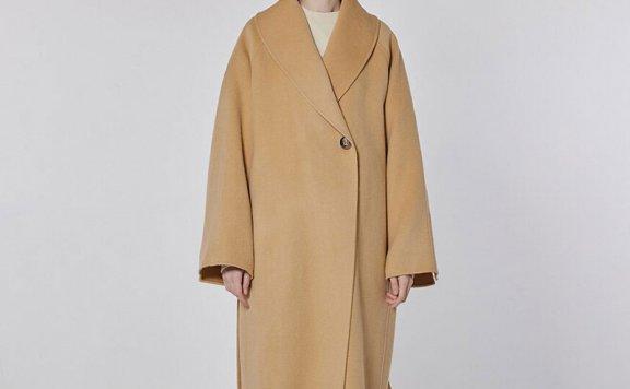 MOHAN 21秋冬 韩国设计师品牌 经典大领一粒扣腰带款羊毛大衣外套