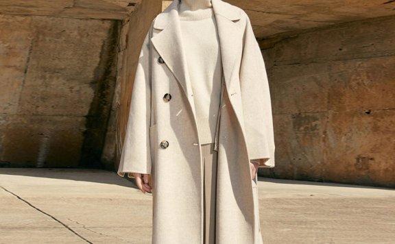 MOHAN 21秋冬 韩国设计师品牌 西装领双排扣腰带款羊毛大衣外套