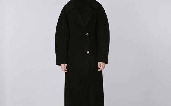 MOHAN 21秋冬 韩国设计师品牌 两粒扣收腰显瘦长款羊毛大衣外套